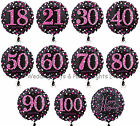 "18"" Foil Helium Balloon Black Pink Purple Happy Birthday Party Decorations"