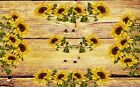 COUNTRY SUNFLOWERS ON WOOD BACKGROUND PLACEMATS SETS U PICK SET SIZE