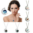 Vintage Silver Chains Necklace Moon Pendant Choker Gift For Women Men Kid