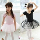 Child Girls Shortsleeve Gymnastic Leotard Ballet Tutu  Dress Dance Costume 3-8Y