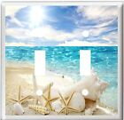 WHITE SEA SHELL STARFISH ON THE BEACH OCEAN LIGHT SWITCH COVER PLATE