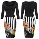 Women 3/4 Sleeve Pencil Dress Print Package Hip Knee Length Plus Dress B22E
