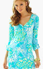 New Lilly Pulitzer V-Neck PALMETTO Henley Dress M L Lagoon Green Wave Rider NWT