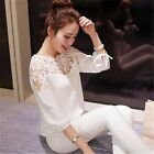 Fashion  Chiffon  Summer  T Shirt Casual  Blouse Tops Lace  Loose