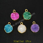 Similar 1Pcs Round Gold Pleted Natural Agate Druzy Geode Charm AG1045