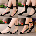 Women Thin Crystal Comfy Sheer Transparent Black Lace Ruffle Ankle Sexy Socks