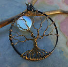 Blue Opalite Moon Tree of Life Pendant Necklace, Halloween Moon Tree of Life