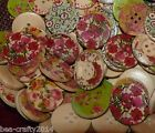 50/100 NATURAL WOOD BUTTONS - 30MM - ASSORTED PATTERNS #CRAFTS/GROUPS