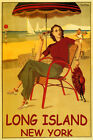 SUMMER TRAVEL LONG ISLAND NEW YORK BEACH DANCING SAILING VINTAGE POSTER REPRO