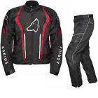 Agrius Phoenix Motorcycle Jacket & Hydra SHORT Leg Trousers Black Red Kit Armour