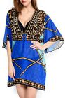 Gottex Santorini Swimsuit Cover Up Kaftan Tunic Dress Womens NWT $248 Blue