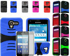 Tempered Glass+Rugged U-Case Cover w/Stand For Kyocera Hydro View/ Shore /Reach