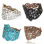 Fashion Womens Punk Hollow Out Flower Wide Bangle Cuff Leather Bracelet 4Colors
