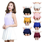 Women's Sports Woven Pleated Mini Skirt Flared Tennis Skirt with Safety Boxers