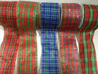 ELEGANZA 'TARTAN' wire edged ribbon Christmas- available in 7 designs 6 lengths