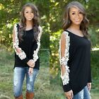 Women's Ladies Sexy Long Sleeve Shirt Loose Casual Lace Blouse Top B20E