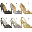 Womens Ladies Party Sandals Glitter Sparkly Stiletto Mid High Heel Shoes Size UK