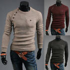 New Mens Stylish Slim Fit Long Sleeve Casual Shirt T-shirt Tops Buttons Knitwear