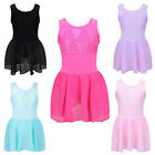 Girls Skate Gymnastic Dancewear Lace Cross Back Chiffon Skirt Ballet Dress 3-12Y