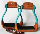 """Horse Saddle Western Barrel Racing 5"""" Wide Leather Pad Stirrups Rodeo  51115T"""