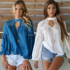 Summer Womens Loose Casual Long Sleeve Lace Shirt Blouse Ladies Tee Tops B20E