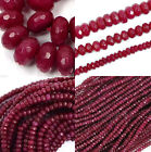 """AAA Genuine Natural Faceted Brazil Red Ruby Gemstone Rondelle Loose Beads 15"""""""
