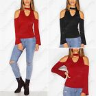 NEW LADIES CUT OUT CHOKER V NECK SLINKY TOP WOMENS FLARED LONG SLEEVES 70s LOOK