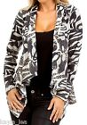 Gray/Ivory Zebra Animal Print Artsy Scarf Drape Cover-Up Cardigan Top