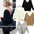Women Chic V-neck Twist Knot Back Long Sleeve Pullover Sweater Two Sides to Wear
