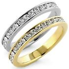 Stainless Steel Eternity Stackable CZ Stone All Around Side Band Guard Ring 3-11
