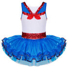 Girls Sequin Bow Leotard Ballet Dance Dress Princess Cosplay Party Costume 2-8Y