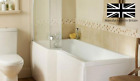 L Shaped 1700mm Left Hand Shower Acrylic Bath With Square Shower Screen Waste