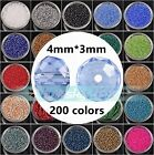 (200 Colors) 100pcs 4mm Rondelle Faceted Crystal Glass Loose Spacer Beads