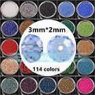 Wholesale 100pcs/1000pcs 3mm Rondelle Faceted Crystal Glass Loose Spacer Beads
