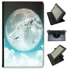 Moonlight Wolf Universal Folio Leather Case For Samsung Tablets