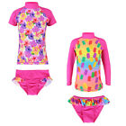 2PCS Girls Popsicles Floral Swimsuit UV 50+ Sun Protective Bathe Swimwear 2-8Y