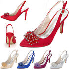 Wedding Shoes Bride Pointed Toe Stiletto High Heels Elegant Crystal Women Pumps