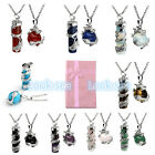 New Steel Dragon Wrap Cylinder Oblate Gemstone Pendant Necklace Chain Set