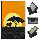 African Savannah Animal Sunsets Universal Folio Leather Case For Amazon Tablets
