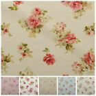 Vintage Chintz Shabby Roses Print Retro 100% Cotton Curtain Upholstery Fabric