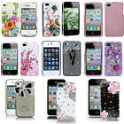 For Apple iPhone 4 4S 4G Hard Shell Case Cover Bling Rhinestone Design Snap On