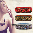 Delicate Women Wristband Faux Leather Magnetic Button Bracelet Wide Band Bangle