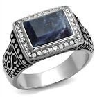 Men's New Stainless Steel Sodalite Blue Rectangle Polished Ring Sizes 8-13