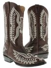 Brown Stitched Embroidered Leather Cowboy Boots Western Rodeo Classic