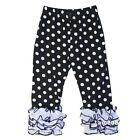 Girls Black Polka Dots White Ruffle Icing Leggings Pants