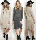 SML Long Line Ribbed Fitted Midi Ripped rip Long sleeve Sweater Knit Tunic Dress