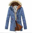 Mens New Warm Fur Collar Hooded Parka Winter Thicken Cotton Coat Outwear Jackets