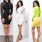 New Women Bandage Bodycon Long Sleeve Evening Party Cocktail Backless Mini Dress
