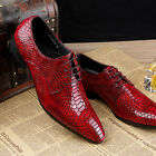 New Fashion Men Business Leather Pointy Toe Lace up Black Red Formal Dress Shoes
