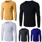 Tee Plain Solid Slim Casual Crew Neck Fashion Tops Men Basic Shirts Fitted
